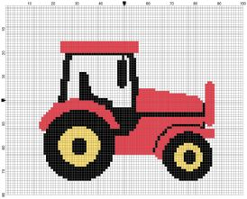 Beginner's Red Tractor Counted Cross Stitch Sewing Kit